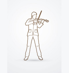 Violinist player a man play violin classic music vector