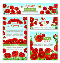 welcome spring banner template with flowers vector image