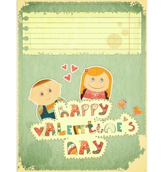 Vintage design valentines day card vector