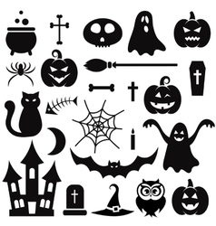 Halloween icons isolated on white vector