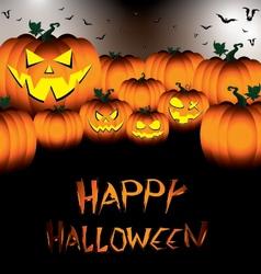 Happy halloween pumpkin set with bats on black vector