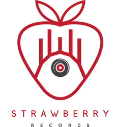 Strawberry records concept with barn and vinyl vector