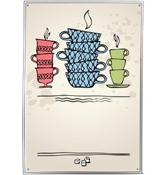 Retro frame with cup of tea vector