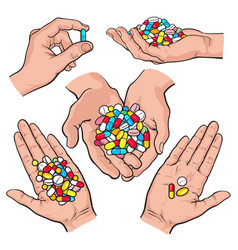 Hand drawn hands holding piles of colorful pills vector