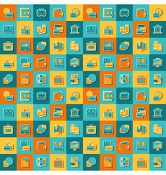 Seamless pattern of banking icons vector