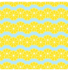 Lemon slices on blue background seamless pattern vector