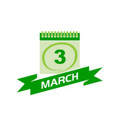 3 march calendar with ribbon vector