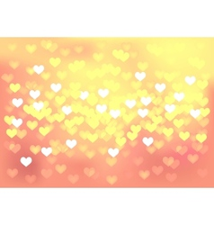 Pink festive lights in heart shape background vector