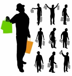 man with shopping bags vector image