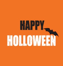 Grunge happy halloween text with pumpkin color vector