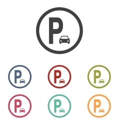 Parking sign icons set vector