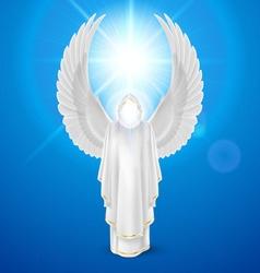 White angel against blue sky vector