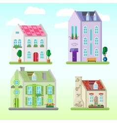 Set of detailed colorful cottage houses flat vector
