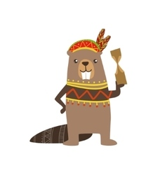 Beaver wearing tribal clothing vector