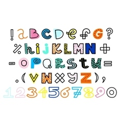 Hand drawn alphabet and numbers funky vector