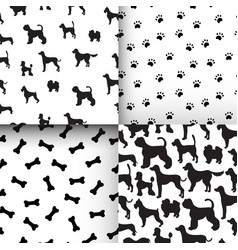 Awesome set of seamless pattern with dog vector
