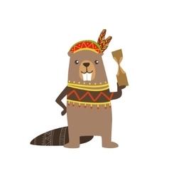 Beaver wearing tribal clothing vector