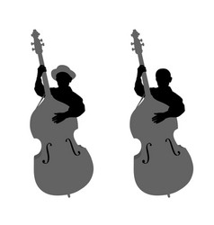 Boy contrabassist vector