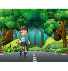 Boy with helmet riding bicycle on the road vector image vector image