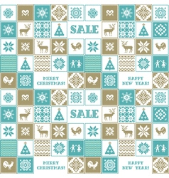 Christmas and new year patchwork pattern vector