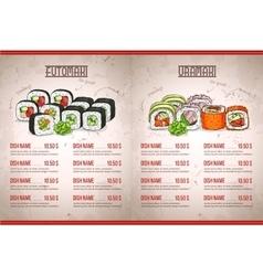 Color horisontal sushi menu vector image vector image