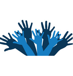 color silhouette with support hands in blue vector image
