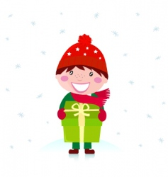 cute christmas boy with gift vector image