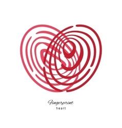 Fingerprint red heart isolated on white background vector