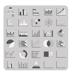 flat icons basic graph chart and diagram set vector image vector image