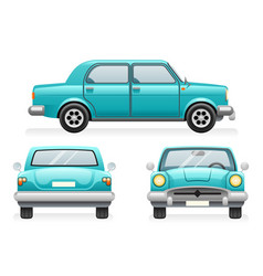 front back side point view retro car icons set vector image
