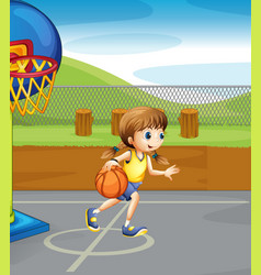 girl playing basketball in the court vector image vector image