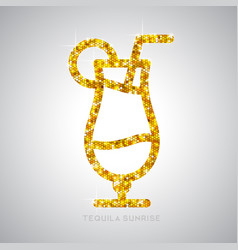 Golden cocktail flat icon tequila sunrise vector