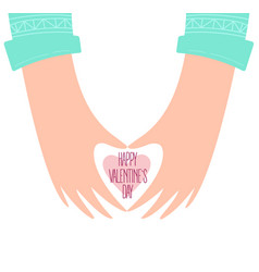 hands of a man shaping a heart happy valentines vector image
