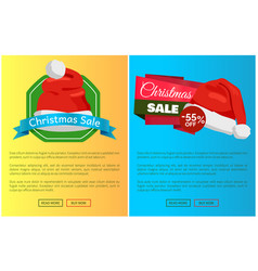 Hot prices santa claus hats promo labels christmas vector