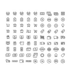 icons set shopping purchase sale vector image vector image