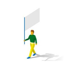 Isometric flag bearer with blank standard vector