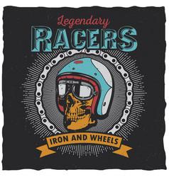 legendary racers poster vector image vector image