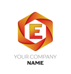 Letter e logo symbol on colorful hexagonal vector