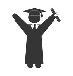 Man graduation hat cap education icon vector