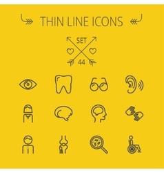 Medicine thin line icon set vector image