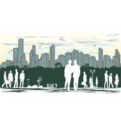 Outline silhouette of the city with crowd of vector