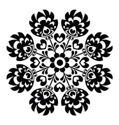 Polish round black folk art pattern - wzory lowick vector
