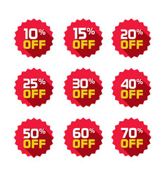 Sale tags set badges template 10 off 15 vector