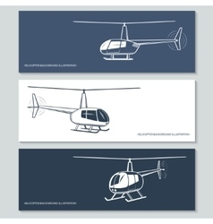Set of helicopter silhouettes vector image vector image
