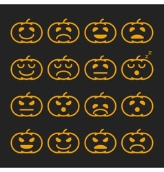 Set of orange pumkin emoticons emoji and avatar vector
