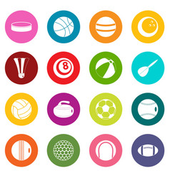 sport balls icons many colors set vector image