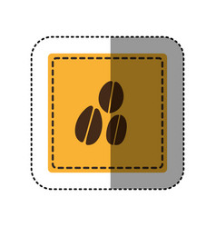 Sticker yellow square with coffee beans vector