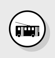 Trolleybus sign flat black icon in white vector