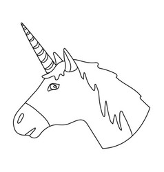 Unicorn icon in outline style isolated on white vector
