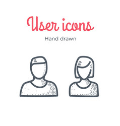 user icons set male and female hand drawn vector image vector image